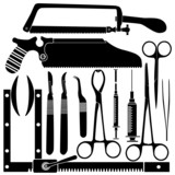 Surgical tool set in detailed vector silhouette poster