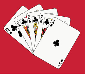 Royal flush club on red