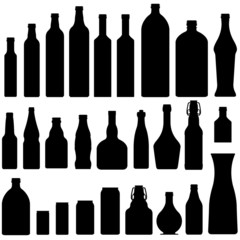 Bottles and jars in vector silhouette