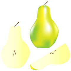 Whole pear, slice, and wedge - vector illustration