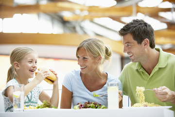 Family Having Lunch Together At The Mall