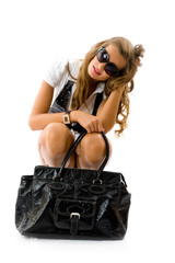 Girl with big fashion bag
