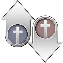 Christian cross icon on up and down vector buttons