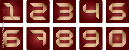 Numbers set on bordeaux background