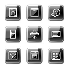 Home appliances web icons, black  glossy buttons series