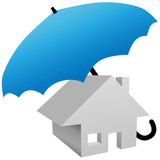 House protected by safety home insurance umbrella poster