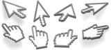 Cursor arrow and hand  pixel 3D cursors 8 angle variations poster