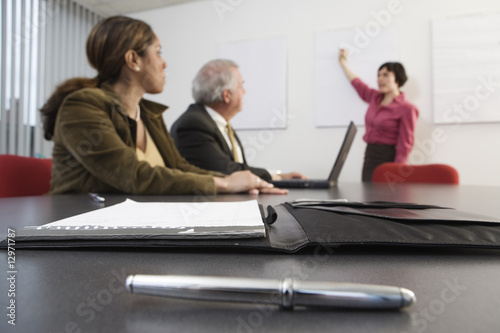 View of an executive making a presentation to the CEO.