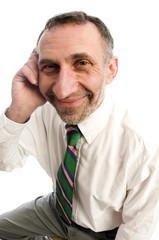 business man senior on cell phone