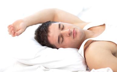Man sleeping on bed