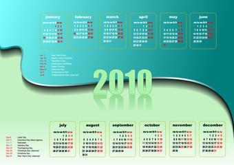 Calendar 2010 with American holidays. Vector illustration