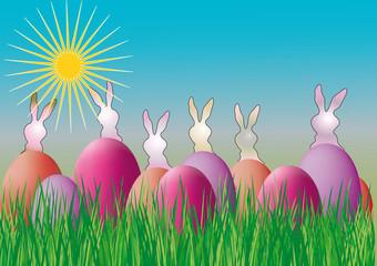 Ostereier im Gras -  Vektor Illustration mit Hasen