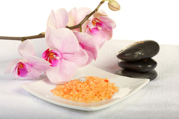 Spa stones with orchid and bath salt