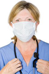 Shot of a Mature Surgeon with Mask and Scrubs