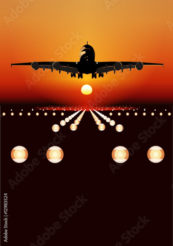 Vector airbus landing at sunset