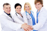 unity of four happy successful doctors poster
