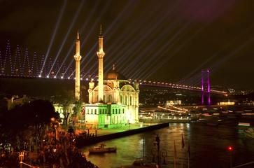 Ortakoy Mosque and Bosphorus Bridge, Istanbul Turkey