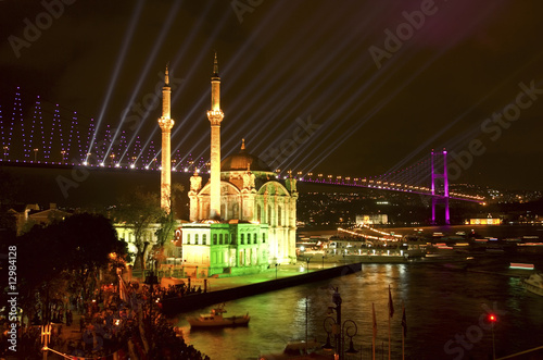 Ortakoy Mosque and Bosphorus Bridge, Istanbul Turkey