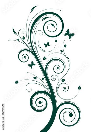 Keuken foto achterwand Vlinders in Grunge floral design. vector illustration