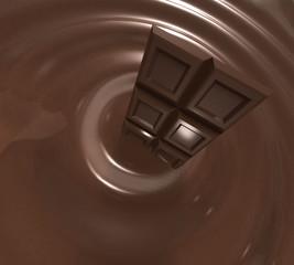 Barrette di cioccolata nel cioccolato liquido