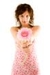 Blume mit Frau im Hintergrund