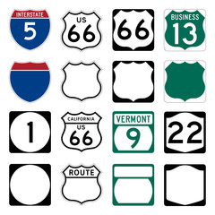 Interstate and US Route signs including famous Route 66