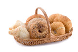 Pastries in a basket isolated on a white background