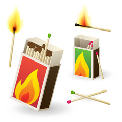 Vector matchboxes with burning matches
