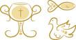 Dreiteiliges Set: Religiöse Symbole - Kelch, Fisch, Taube