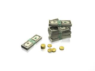 Dollars et pièces en or