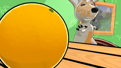 young kangaroo jumps to get an orange. 720p