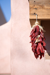 Chili pepper hanging from the door in Old Town Albuquerque