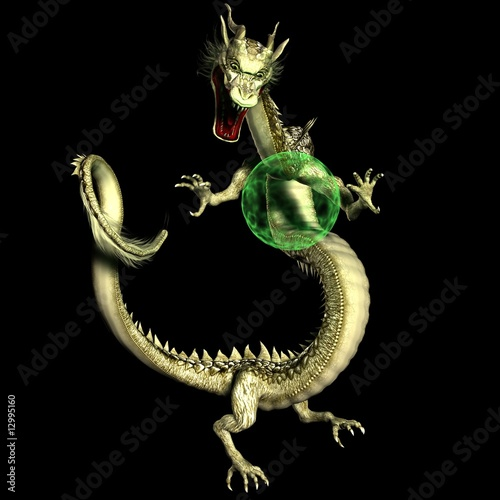 Magical Asian Dragon with Glowing Plasma Orb