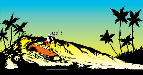 Retro style beach scene with long board surfer illustration