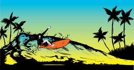 Retro style beach scene with short board surfer illustration