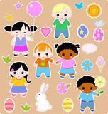 Beautiful set of children and toys. All images are separated poster