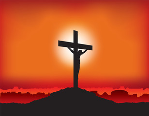 jesus on cross at sunset