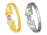 Gold and silver rings with diamonds