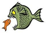 Angry bully fish bullying cartoon illustration poster