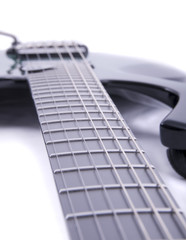 close up shot of an electric guitar
