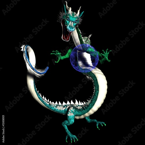 Magical Asian Dragon with Glowing Plasma Blue Orb