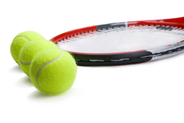 Three tennis ball with racket
