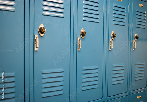 School lockers at an angle