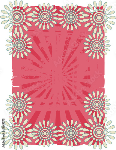 Retro flower on grunge background
