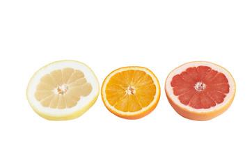 Slices of juicy citrus on a white.