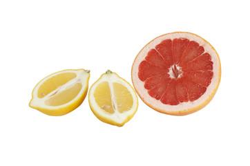 Ripe lemon and grapefruit on a white.