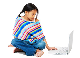 Girl Working On A Laptop