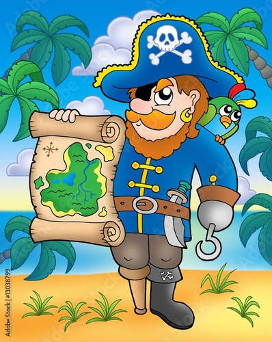 Deurstickers Piraten Pirate with treasure map on beach