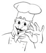 Vektoroutline Koch Kopf mit Hand
