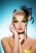 Young beauty with butterfly face-artface-art